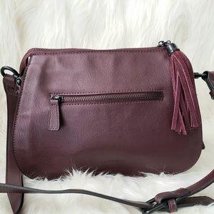 La Diva Plum Leather Tassel Crossbody Bag Purse